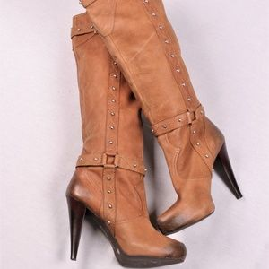 Gianni Bini Brown Leather Mid-Calf Buckle Boots 9